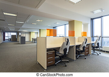 Empty office - Empty desks in a modern office interior