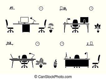 Empty office room icon set