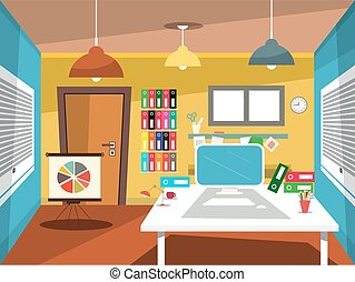 Empty Office Room. Vector Studying Room Cartoon.