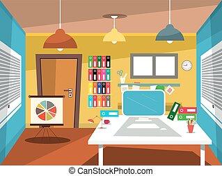 Empty Office Room. Vector Studying Room Cartoon.