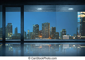 Empty office room with view of the city