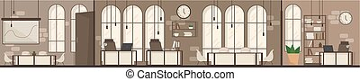 Empty Office Space Interior Modern Workplace Space Flat Vector Illustration