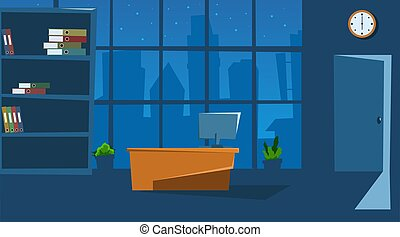 Empty office space interior with furniture and laptop. Flat style. Vector illustration