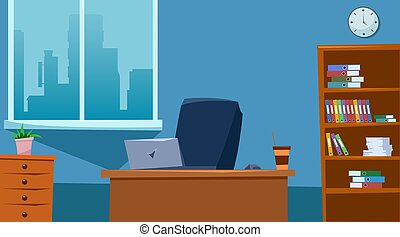 Empty office space interior with furniture. Flat style. Vector illustration