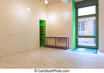 Empty office with colours