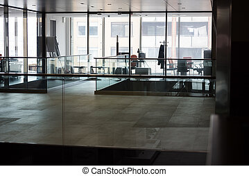 empty office with modern computers