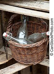 Empty, old bottles in the basket