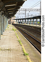 Empty old electric train station