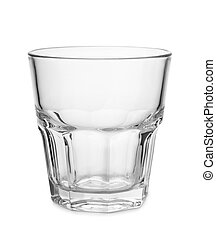 Empty old fashion whiskey glass isolated on white