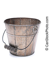An empty old fashioned bucket over a white background.