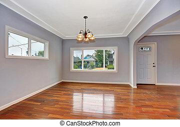Empty Old house interior. Entryway with hardwood floor