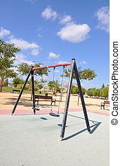 Empty Old Playground Swings