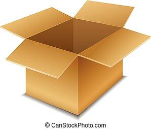 Empty open cardboard box