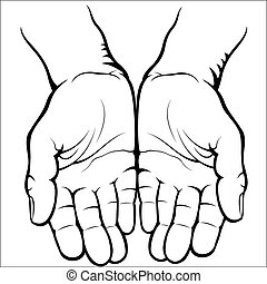 Empty open palms - Vector illustration : Empty open palms on...