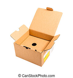 Empty open paper box isolated on white background,with clipping path