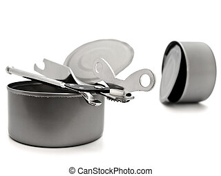 tins with opener - empty open tins with opener over white ...