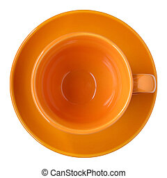empty orange cup and saucer top view isolated on white