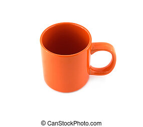 Empty orange cup isolated top view