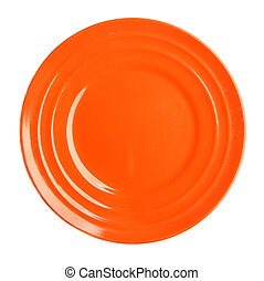 Empty orange plate isolated on white background,