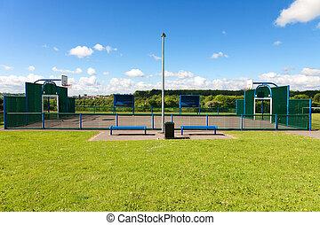 empty outdoor basketball field