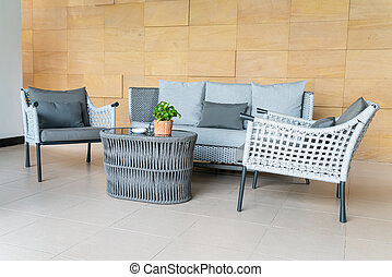 outdoor patio chair and table