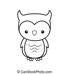 Empty outline owl. Cute kids cartoon contour. Stock isolate on a white background.