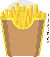 Empty Packaging box for French Fries. Fast Food Icon. Brown color design. Vector with Flat and solid color design.