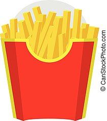 Empty Packaging box for French Fries. Fast Food Icon. Red color design. Vector with Flat and solid color design.