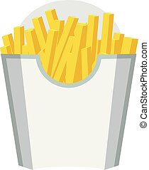 Empty Packaging box for French Fries. Fast Food Icon. White color design. Vector with Flat and solid color design.