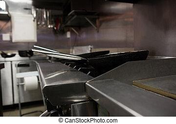 Empty pan on gas stove