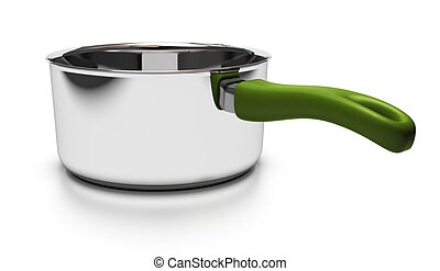 empty pan over white background with green handle