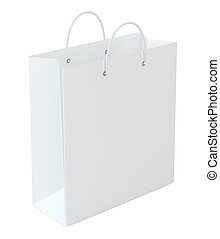 Empty paper bag on white background. Isolated on white background. 3d rendering.