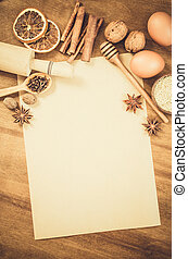 Empty paper for recipe of Christmas baking. Culinary ...