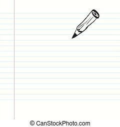 Empty Paper. Notebook with Pencil. Vector.