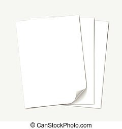 Empty paper sheet. Vector set