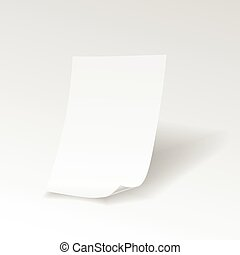 Empty paper sheet with curl