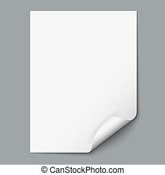 Empty paper sheet with curled corner