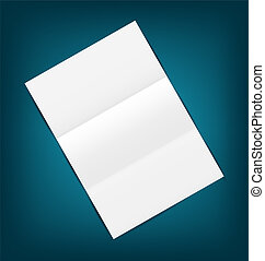 Empty paper sheet with shadows, on blue background
