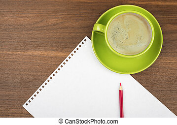 Empty paper with coffee