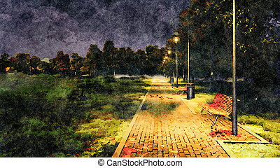 Empty park alley autumn night watercolor landscape