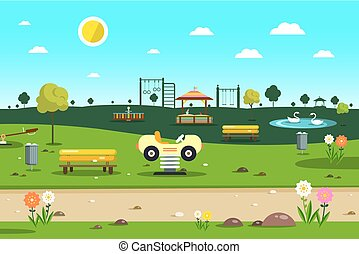 Empty Park - Playground  - City Garden Vector Cartoon