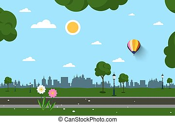 Empty Park Vector Illustration
