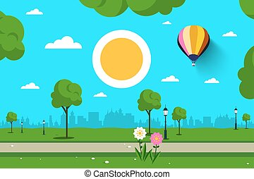 Empty Park. Vector Nature Scene. City, Sun and Hot Air Balloon.