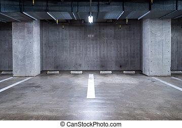 Parking garage underground - empty Parking garage ...