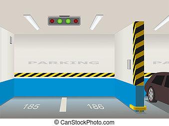 Empty parking lot area. Vector illustration
