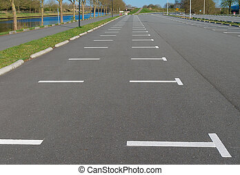empty parking lot at a football stadium