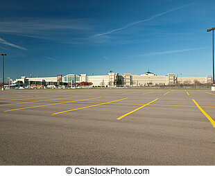 empty parking lot - empty mall parking lot