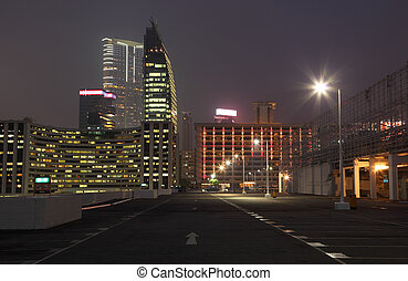 Empty parking lot in the city at night, Hong Kong