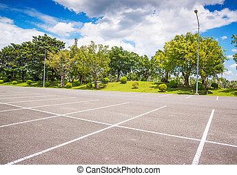 Empty Parking Lot ,Parking lane outdoor in public park