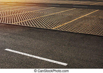 Empty parking lots as abstract urban background